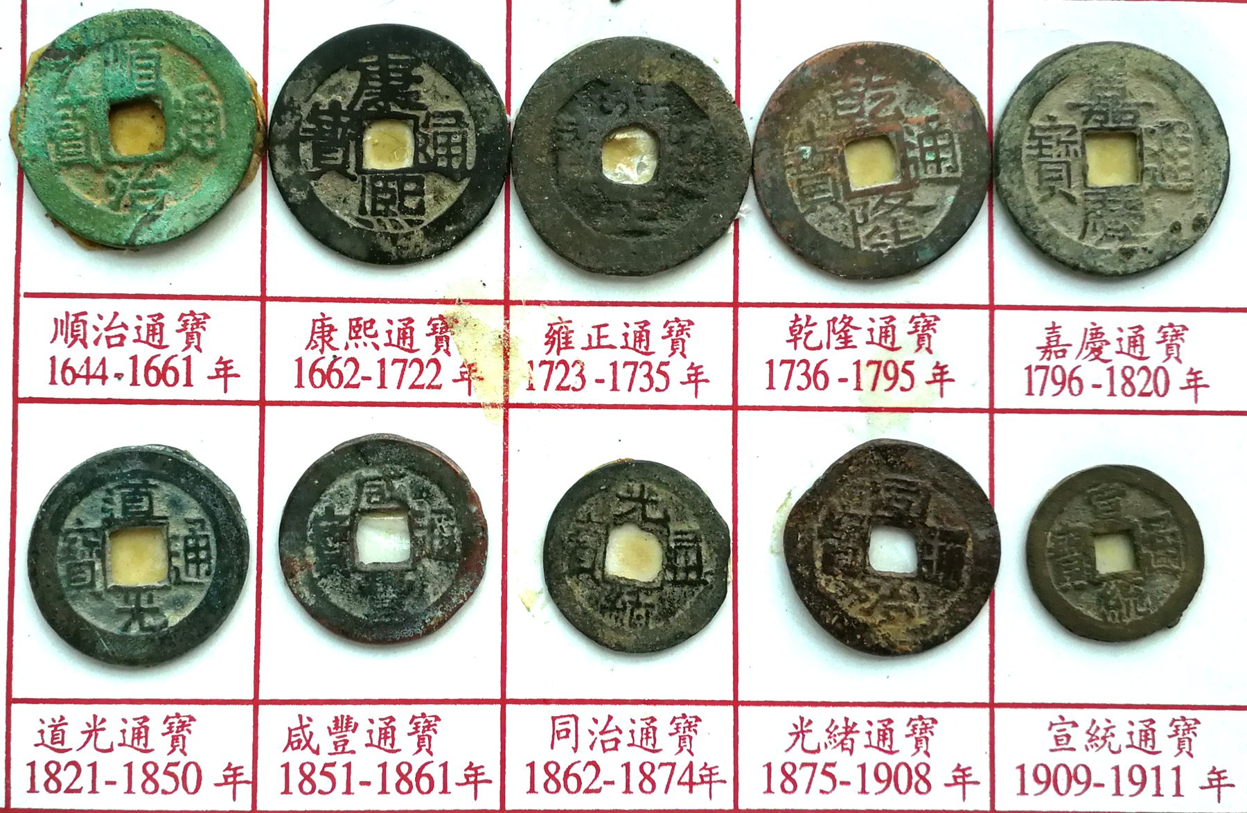 10 Pcs China Coins Ancient Qing Dynasty Emperors Copper Currency Antique History