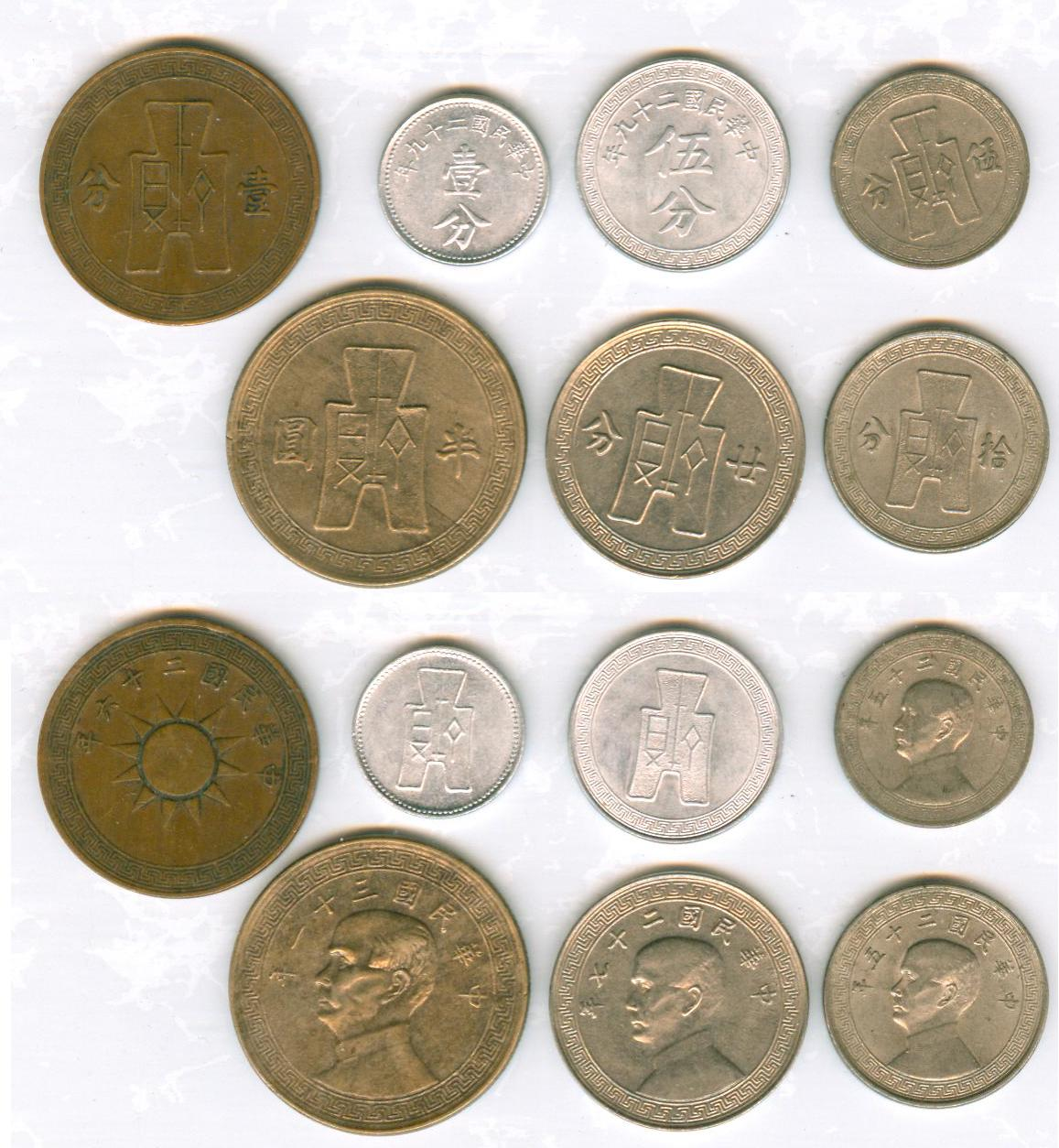 K5801, Set of 7 Pcs legal coins of Republic of China, 1940's