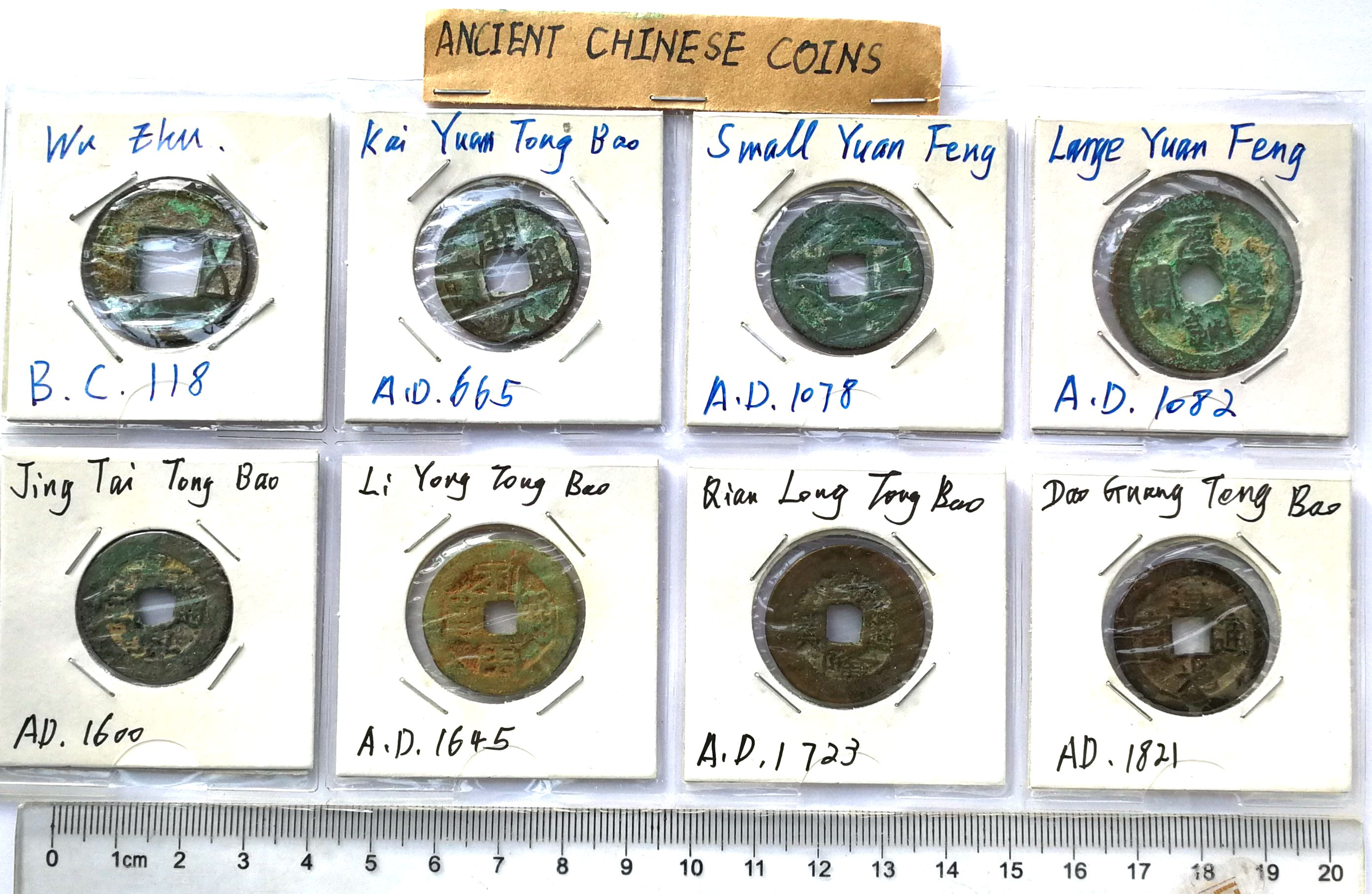 K6517, China Ancient Coins, 8 Pcs Diff. Collection, BC 118 to AD 1820