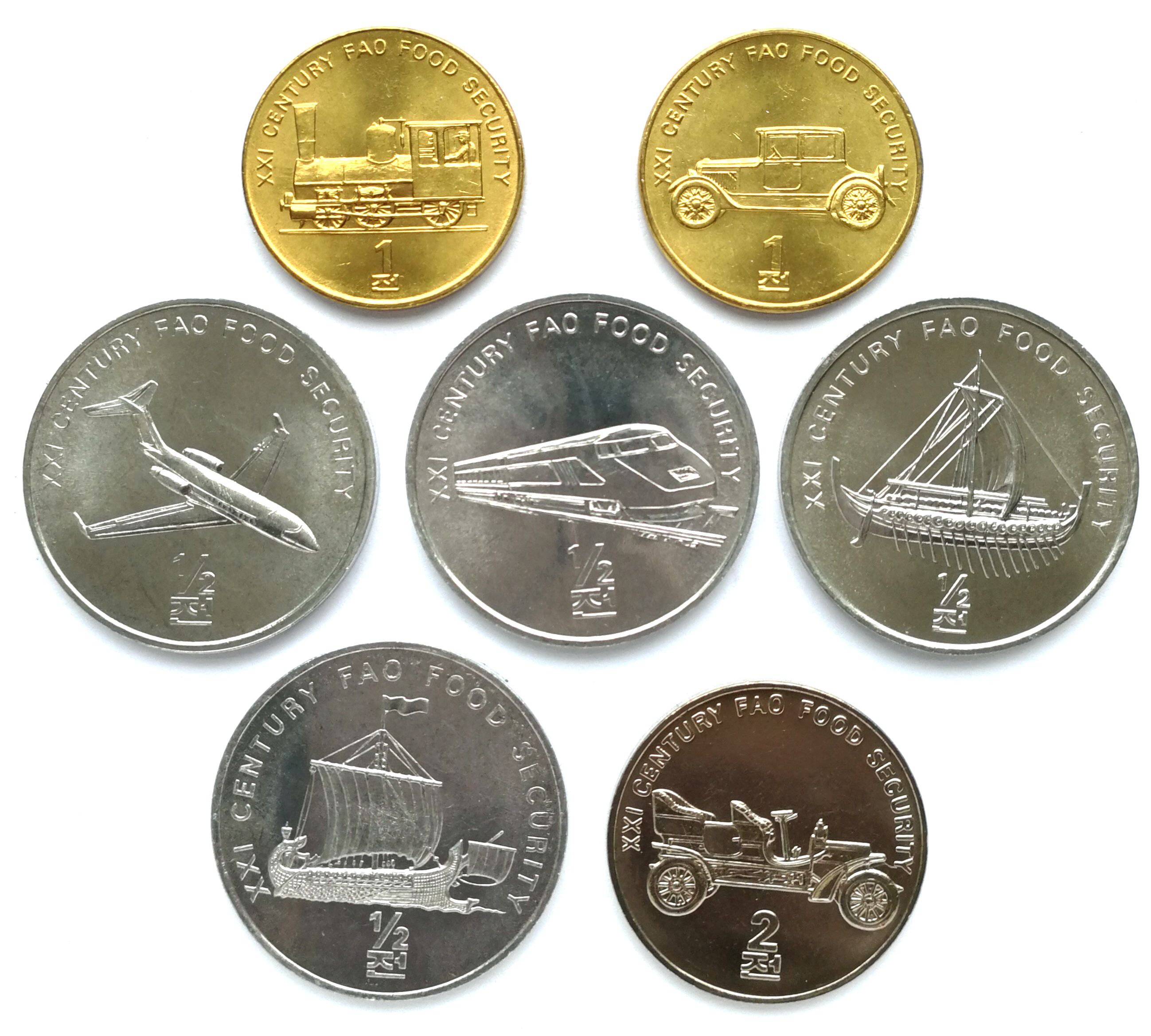 "L3082, Korea ""Transportation"" 7 Pcs Commemorative Coins, 2002"