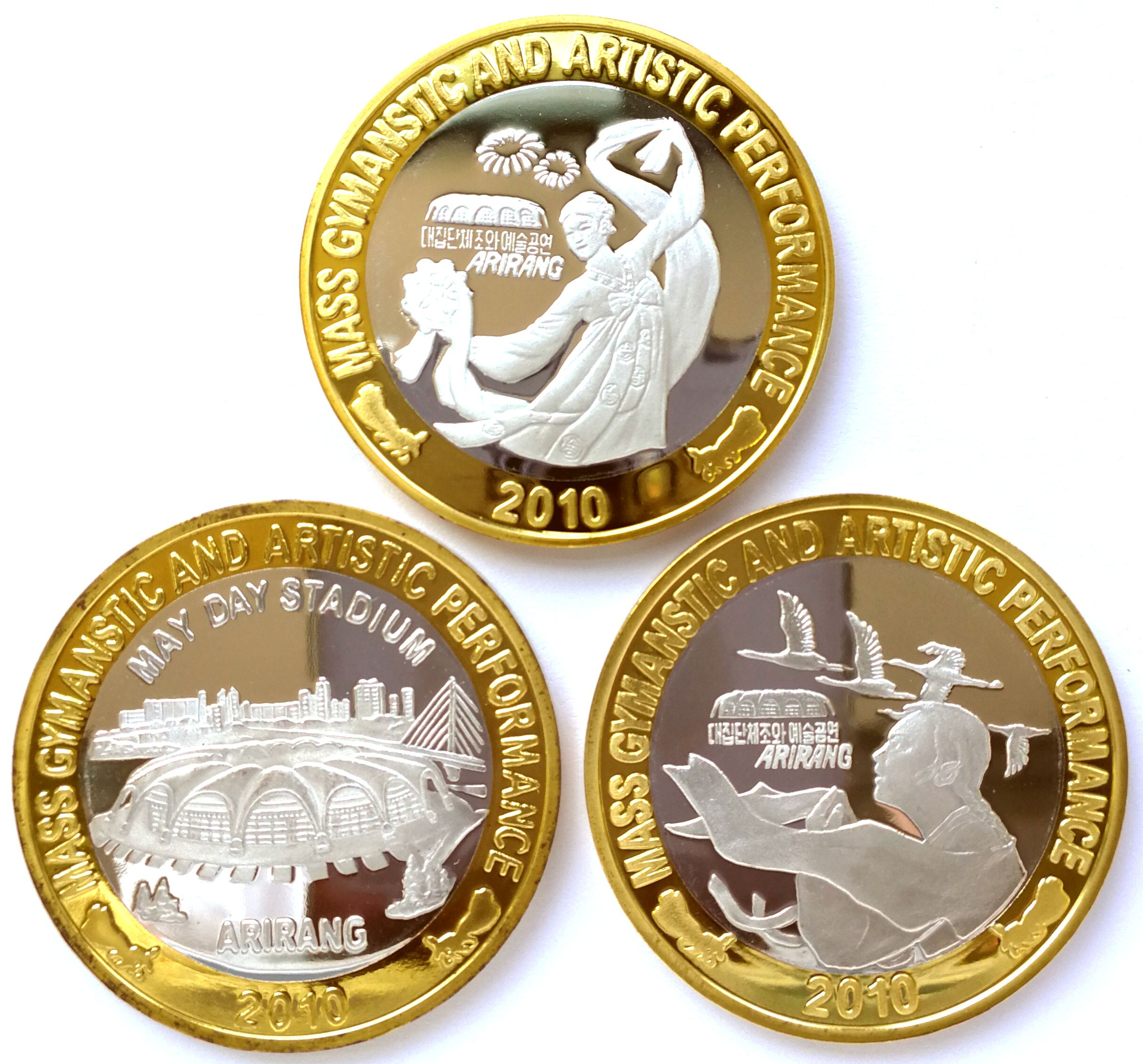 "L3099, Korea ""Arirang Mass Gymanstic"" 3 Pcs Bi-Metallic Coins, 2000 Proof"