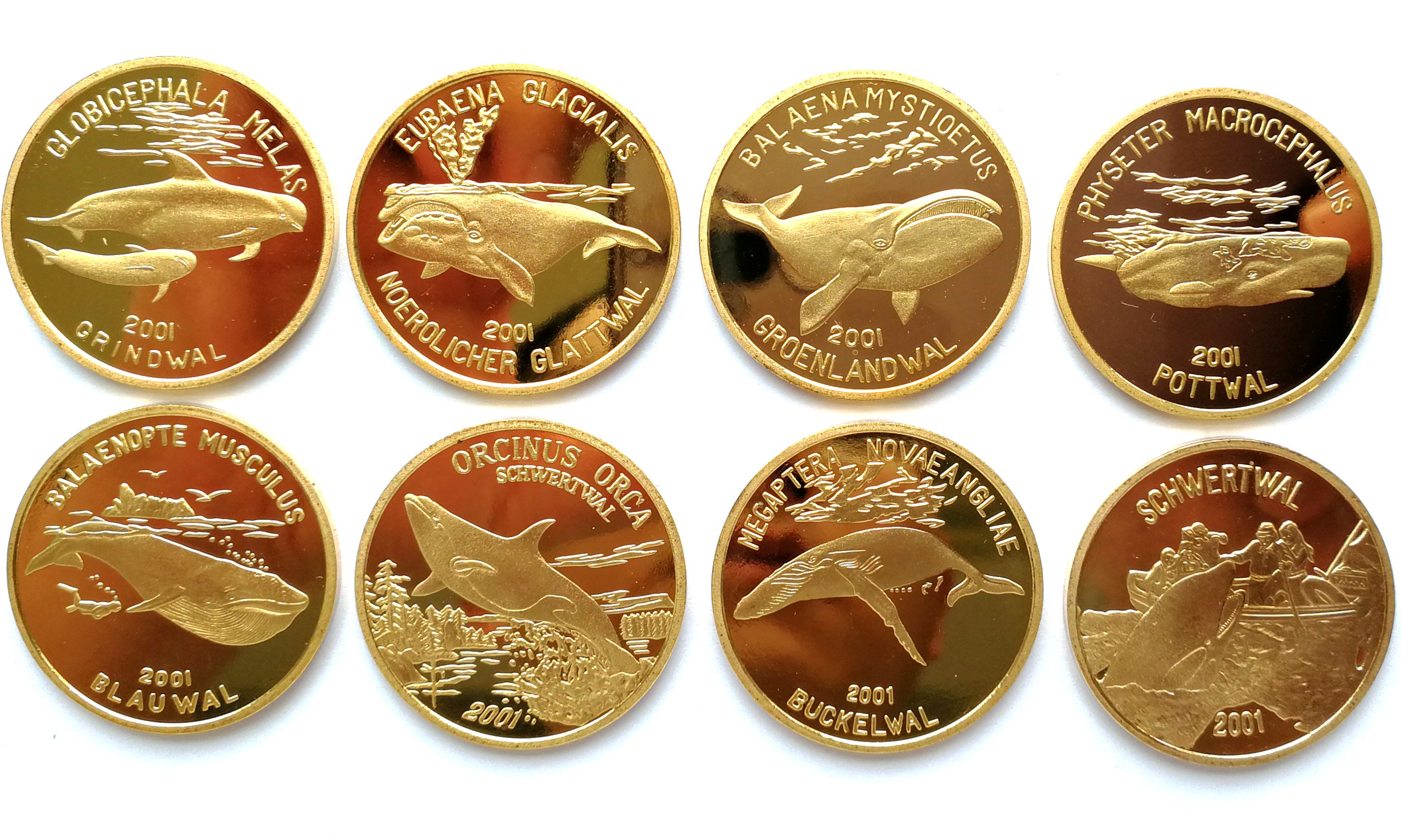 "L3314, Korea ""Whale"" 8 Pcs Proof Coins, 2001 Full Set Brass"