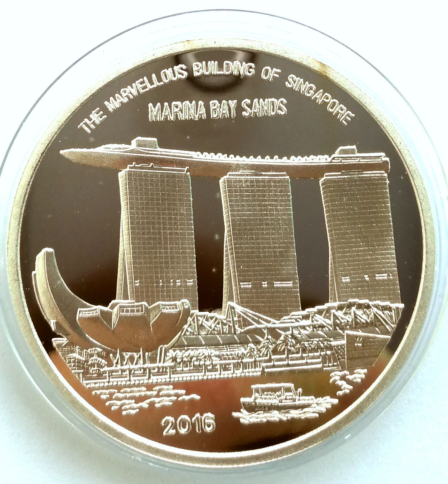 "L3470, Korea ""Marina Bay Sands"" Singapore Fair Silver 1 oz. Coin. 2016"