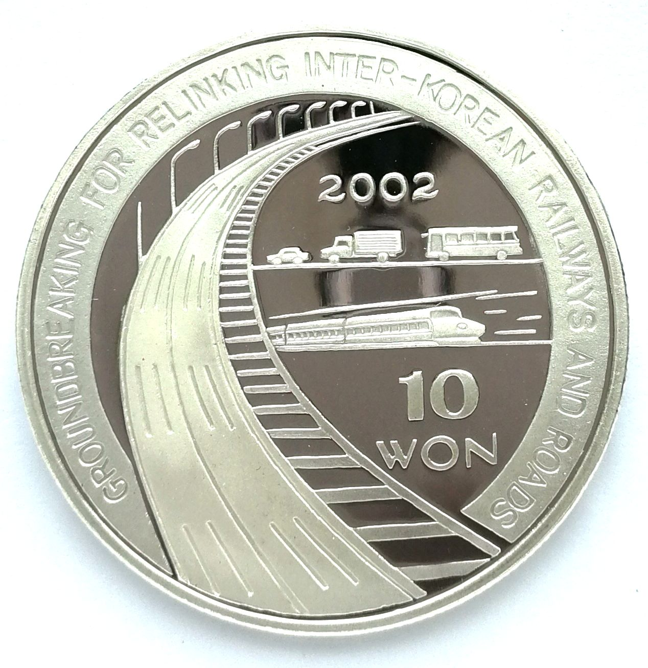"L3574, Korea ""Relink Inter-Korean Railways"" Proof Silver Coin, 31 grams, 2002"