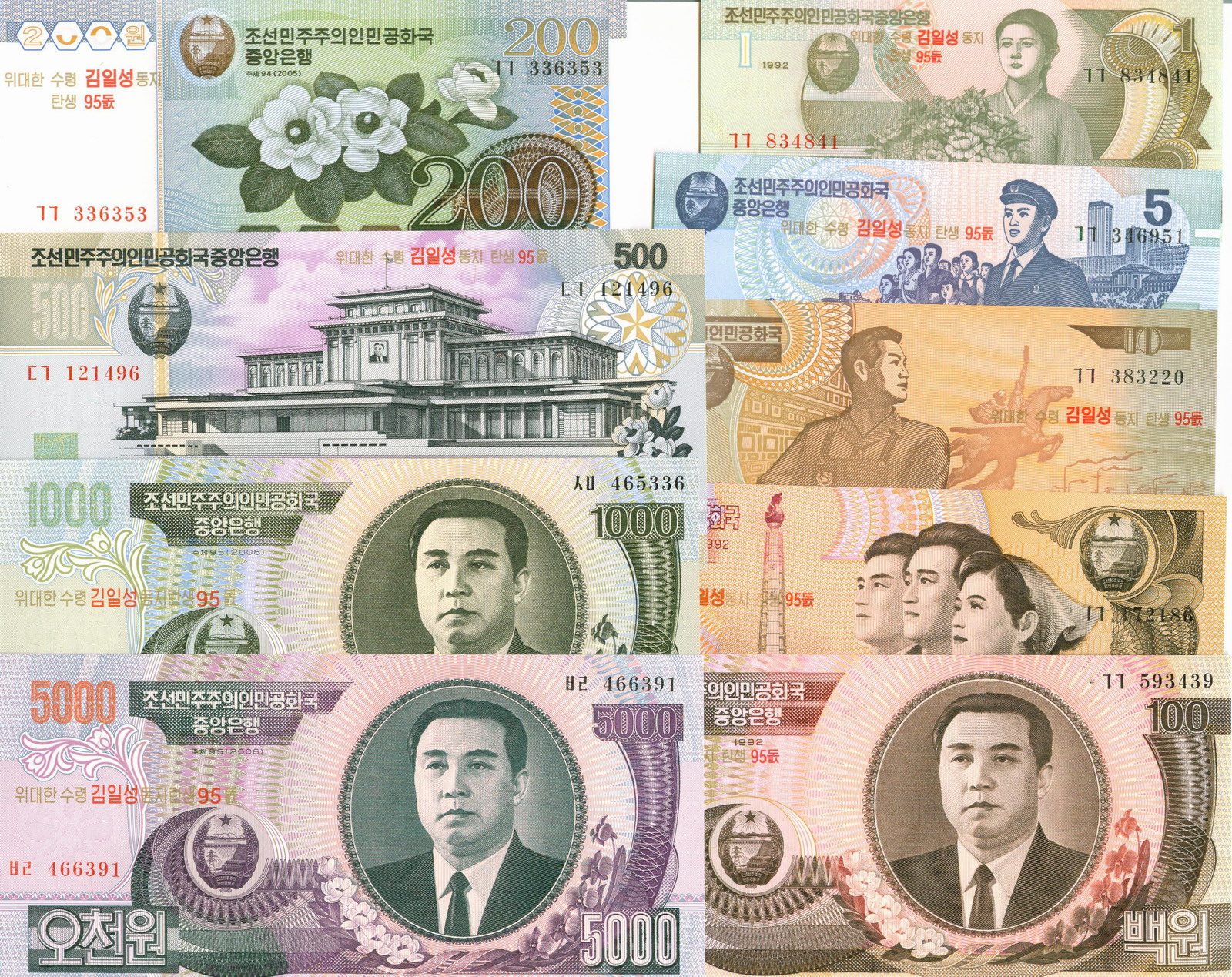 L1095, Korea 2008 Banknotes, Set of 9 Pcs, 95th Anniversary
