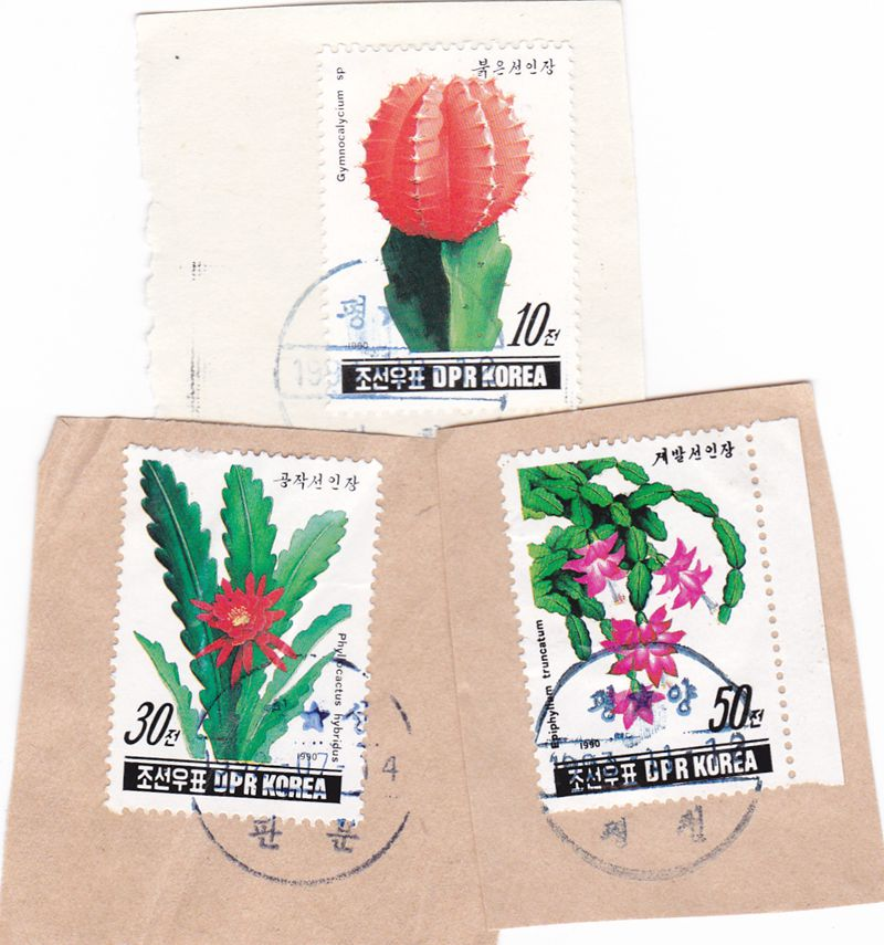 "L4326, Korea 3 pcs Postal Used Stamps, ""Cactus Flowers"", 1990"