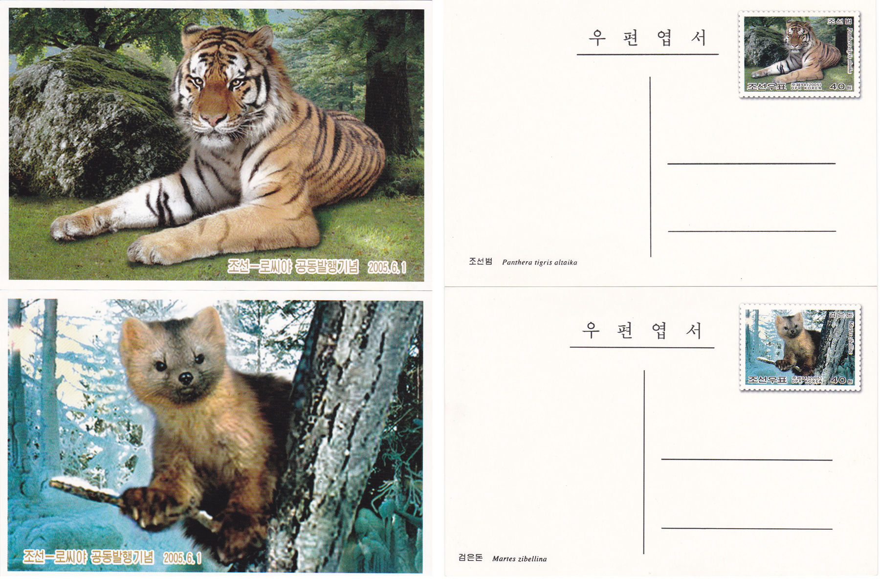 L9312, Korea and Russia Joint Issue Annimals, 2 Pcs Postal Cards, 2005