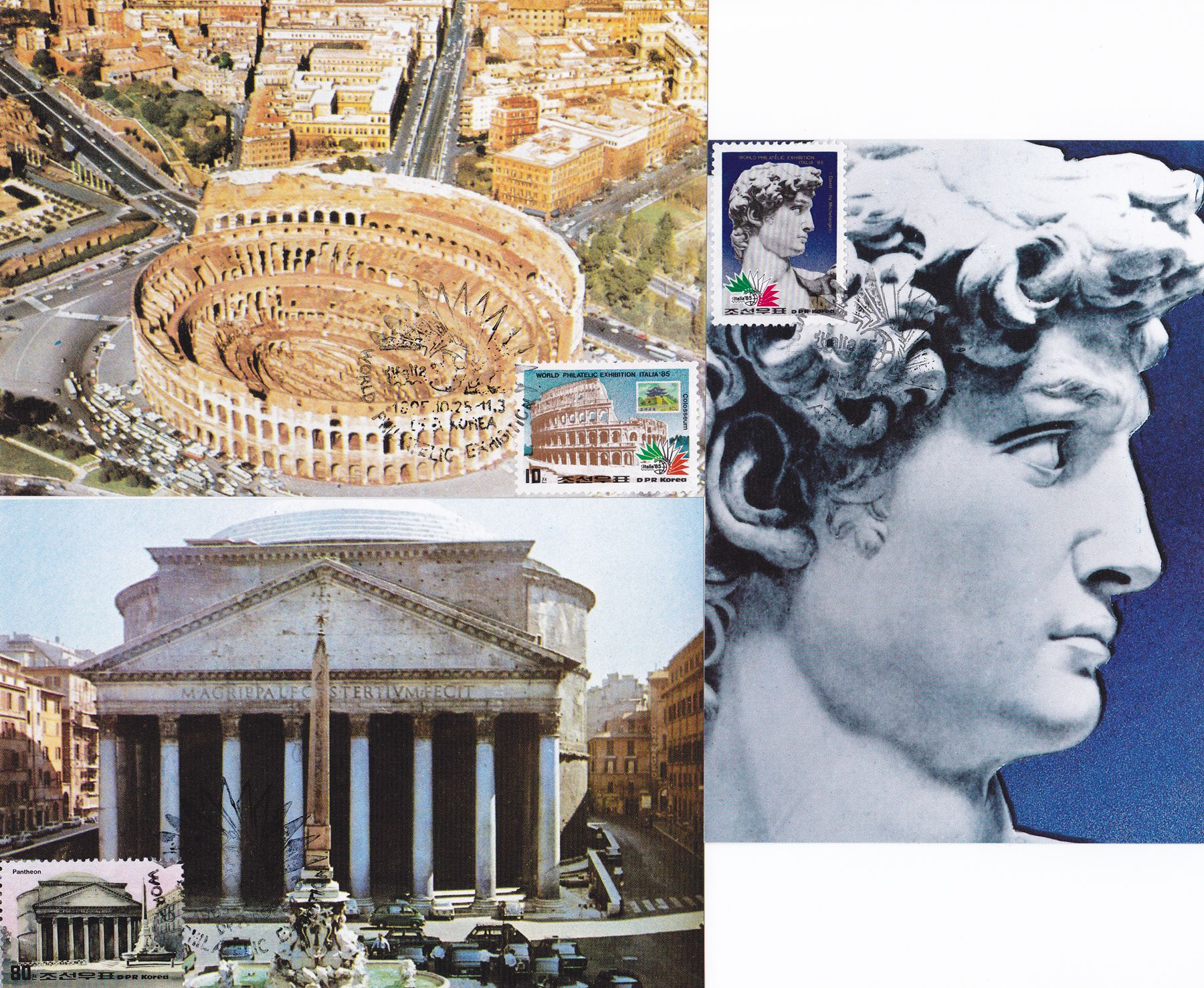 "L9383, Korea Maxicard 3 Pcs, ""Italia 85 Stamp Exhibition, Rome"", 1985"