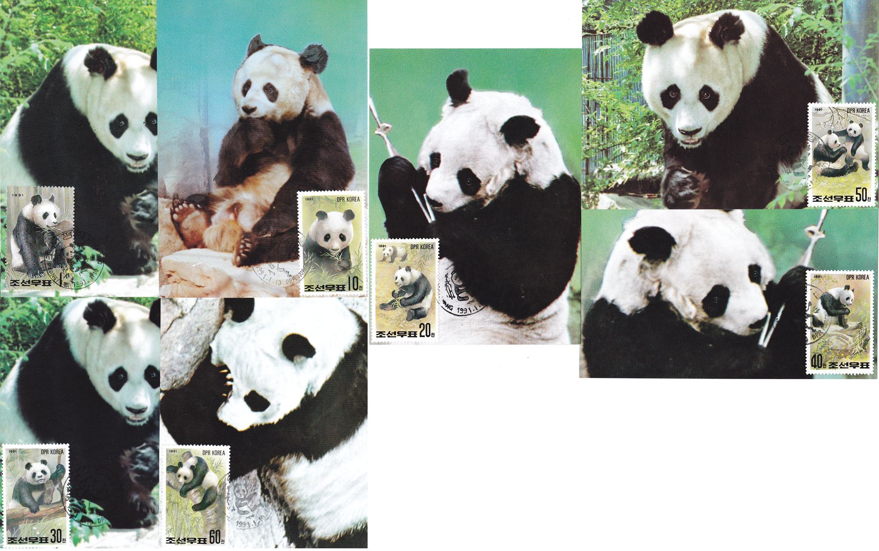 "L9388, Korea Maxicard 7 Pcs, ""China Panda"", 1991"