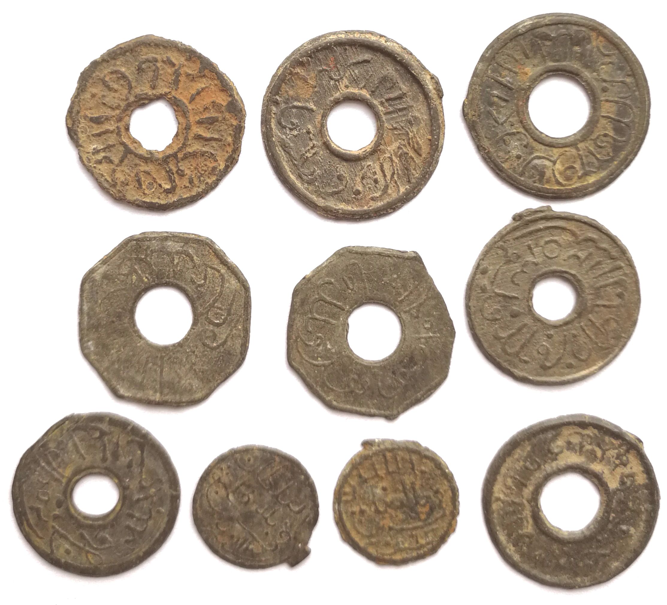 T2154, Ancient Java Bantam Banten Coin, 10 Pcs Tin, Minted in Palembang, 1700's