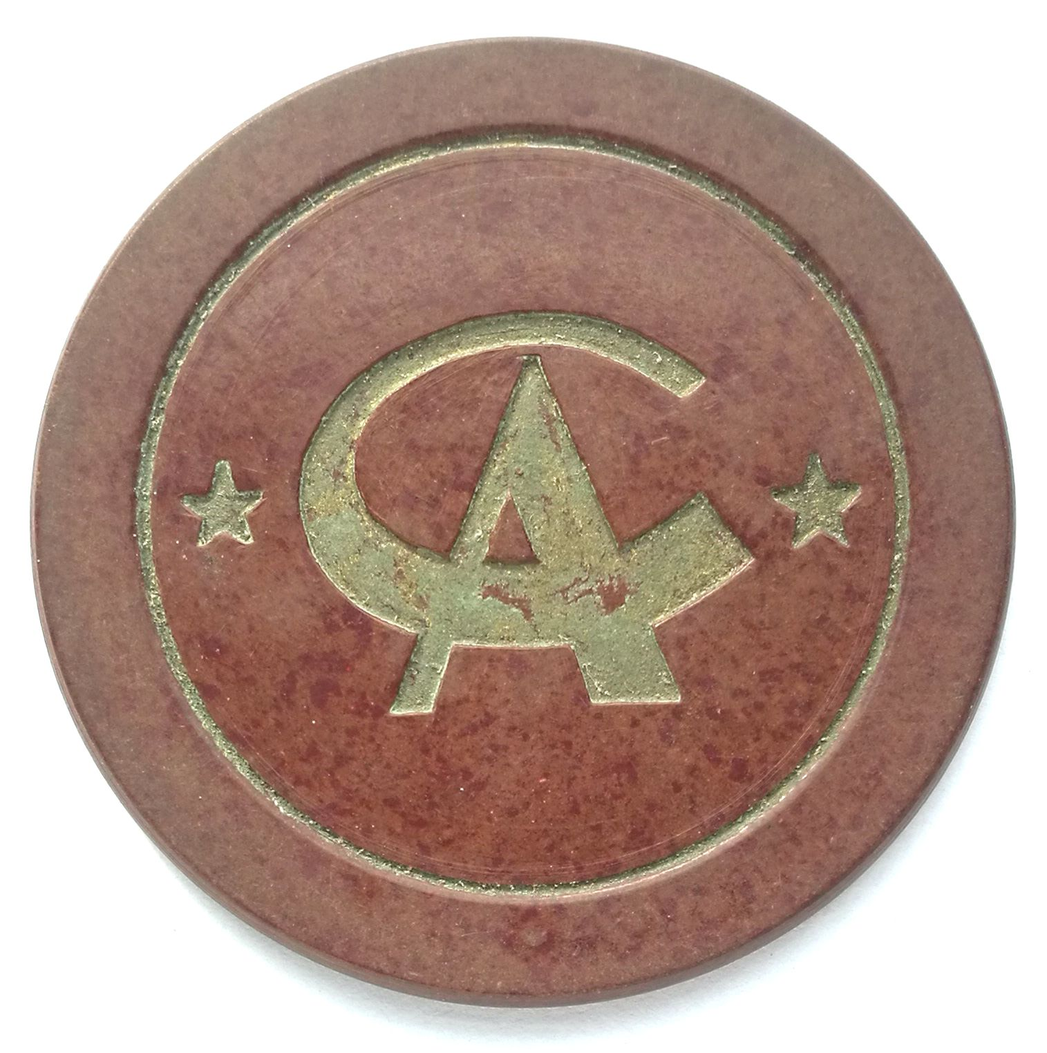 "BT618, Casino Token 1 Dollar, with ""CA"", Shanghai (Bakelite) 1920's"
