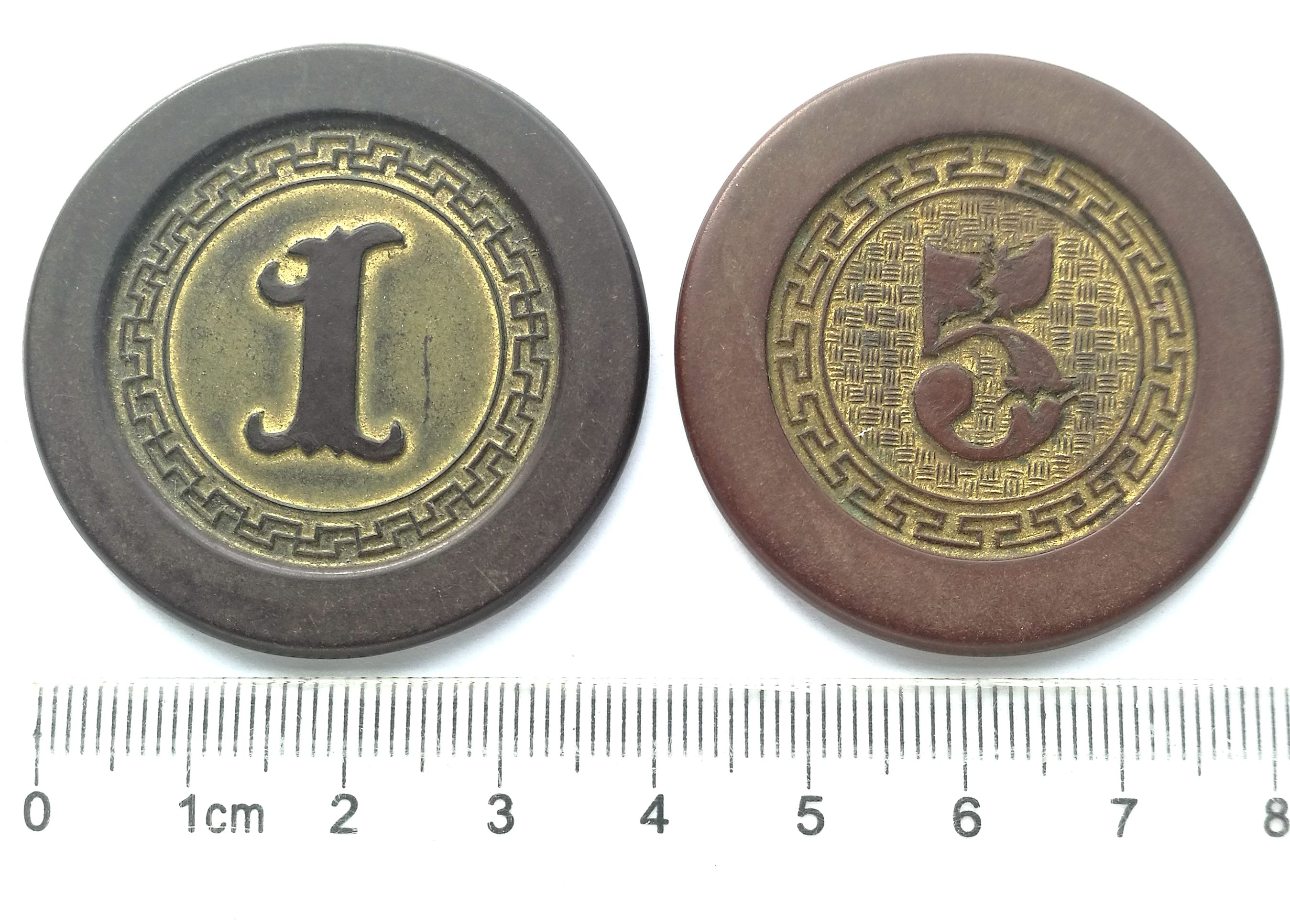 BT630, Shanghai Casino Token 1 and 5 Dollars, Two Colors, (Bakelite) 1930's