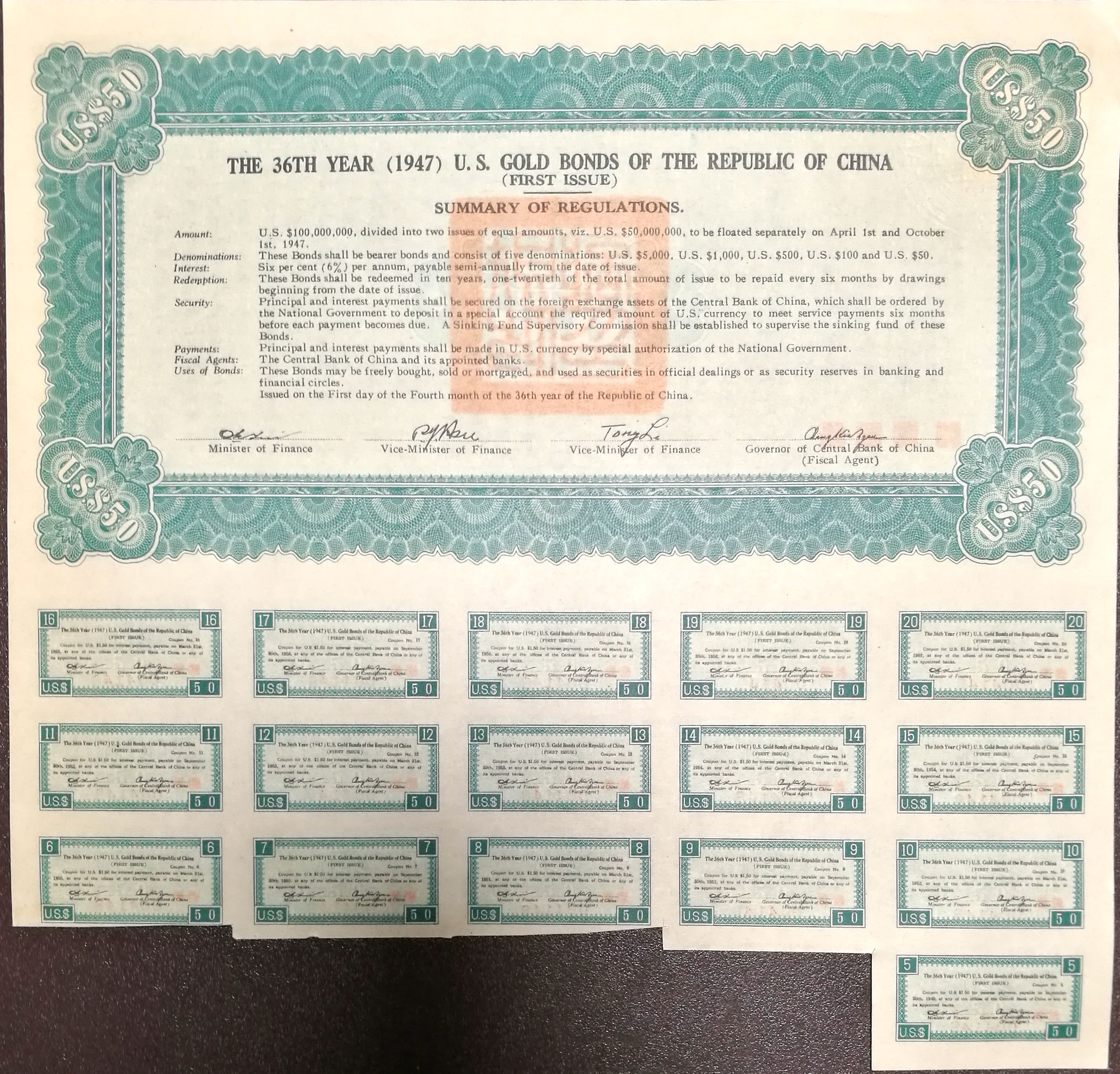 B2091, China 6% U.S.Gold Bond of 1947, USD 50 for Liberty