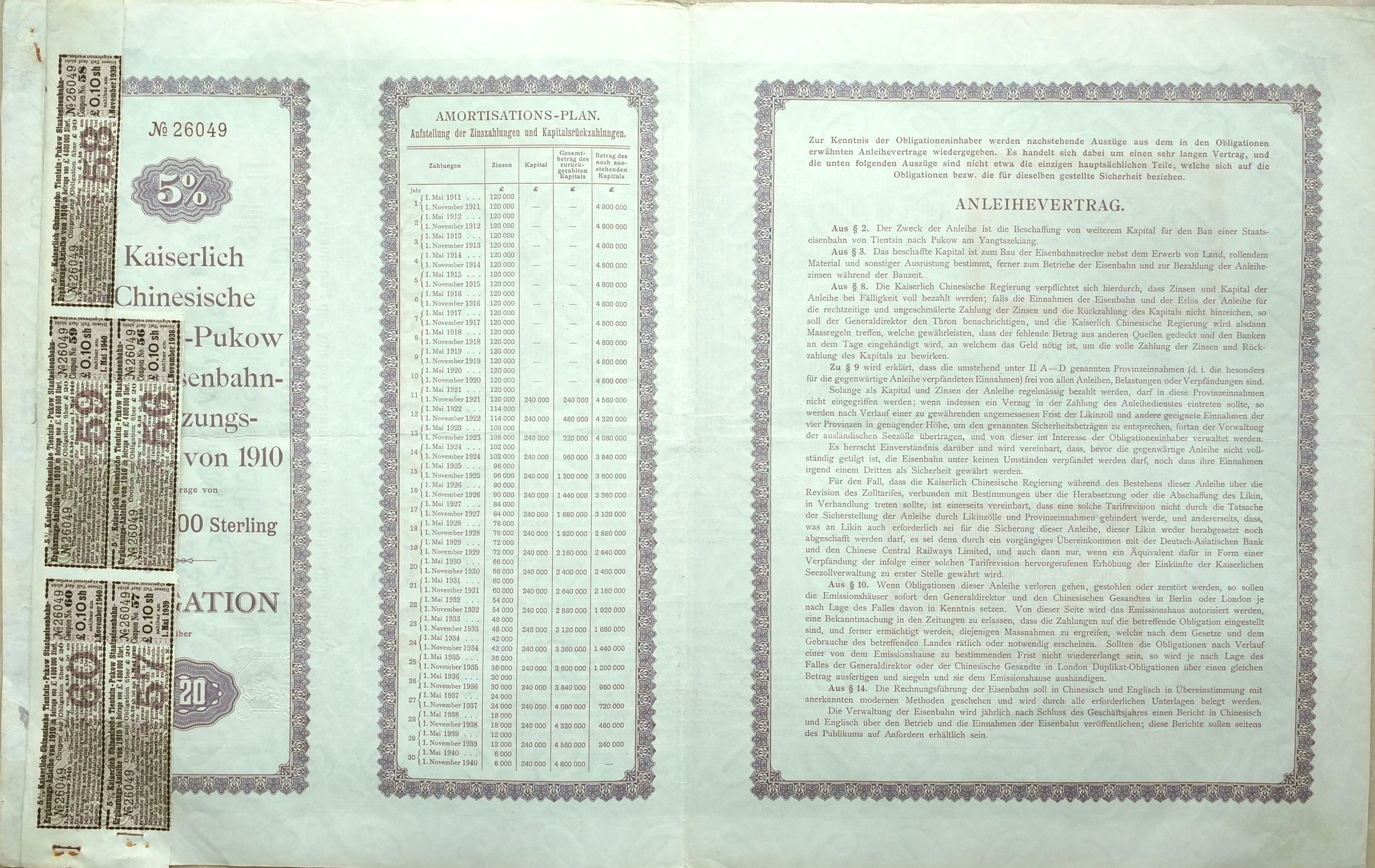 B9050, China 5% Tientsin-Pukow Railway Supplementary Loan, 20 Pounds Bond 1910 - Click Image to Close