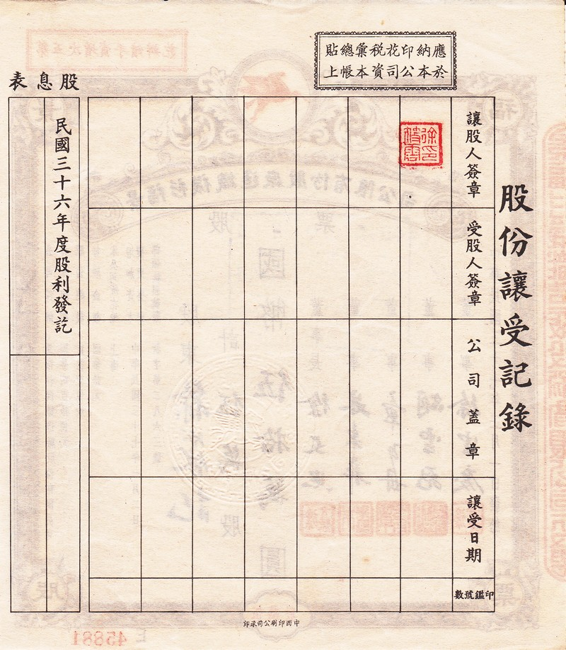 S1006, Shanghai Jin-Fu Textile Mechanical Co. Stock Certificate of 1947
