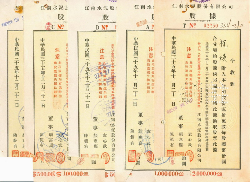 S1071, China Kiangnan Cement Co, 5 Pcs Different Stock Certificate, 1946