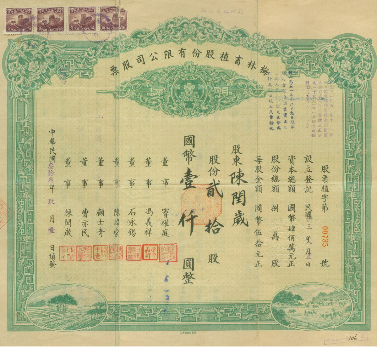 S1084, Shanghai Ma Ling Farms Ltd., Stock Certificate 20 Shares, 1944