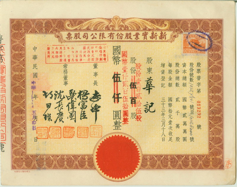 S1285, Sunsun Real Estate Co, Stock Certificate 125 Shares, China 1945