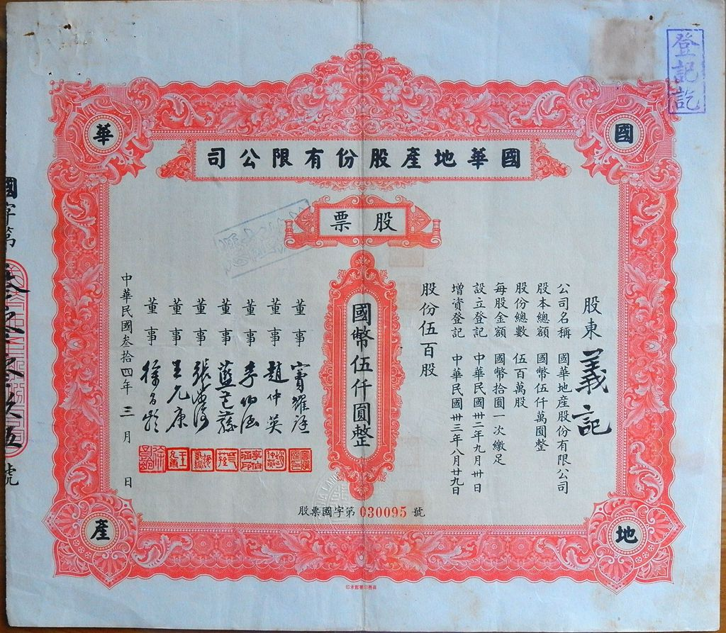 S1404, China Industrial Realty Co., Stock Certificate 500 Shares, 1945