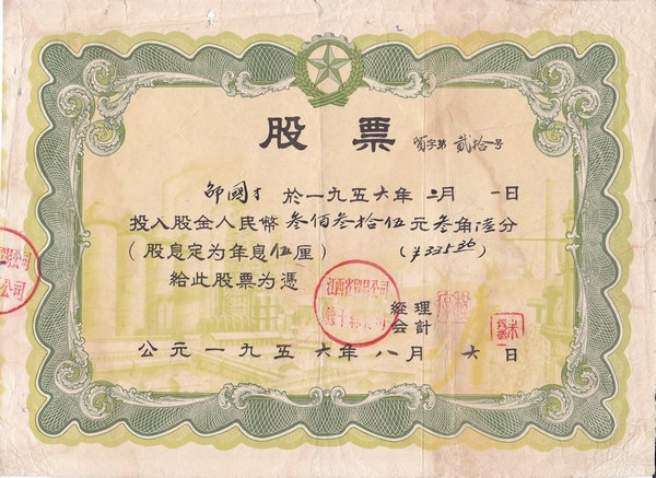 S2038, China Jiangxi Trade Company, Stock Certificate of 1956