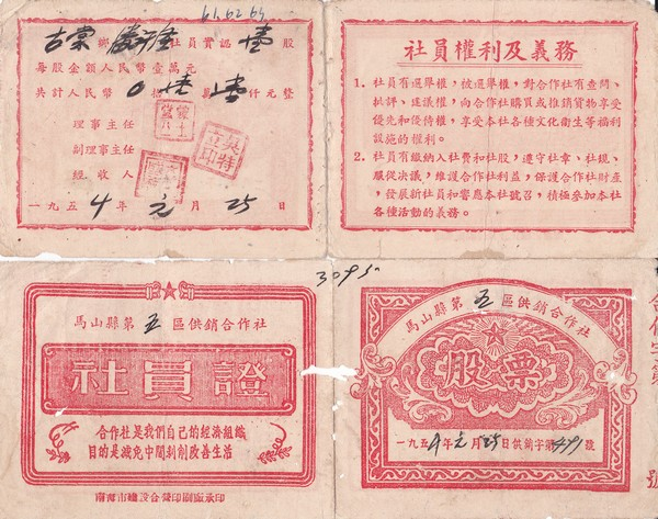 S2040, China Mashan County Rural United Company, Stock Certificate of 1954