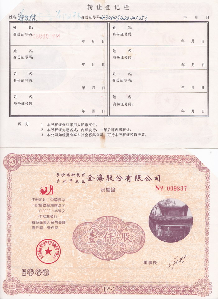 S3092 Changsha City Gold-Sea Co, 10000 Shares, 1993