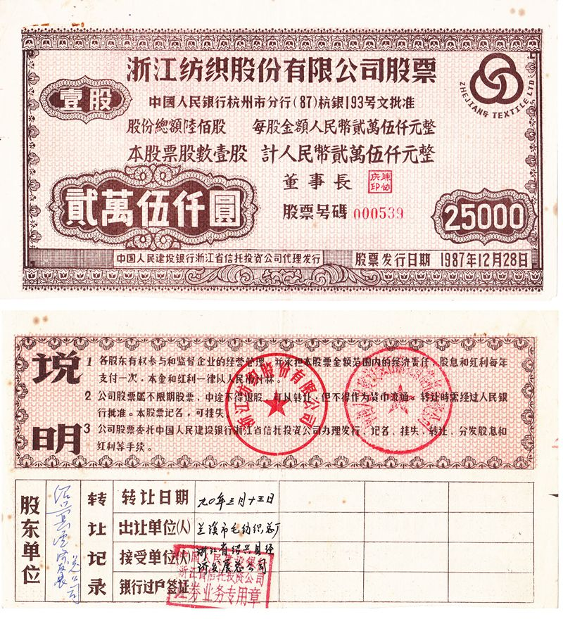 S3133, Zhejiang Textile Co, Ltd, 1 Share, 1987 (Sold Out)