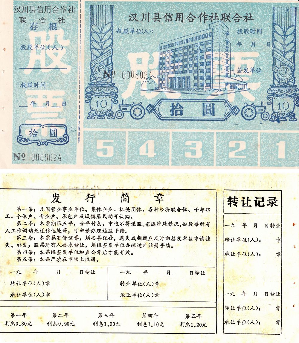 S3254, Stock Certificate of Credit Society Co., Hanchuan County, China 1990