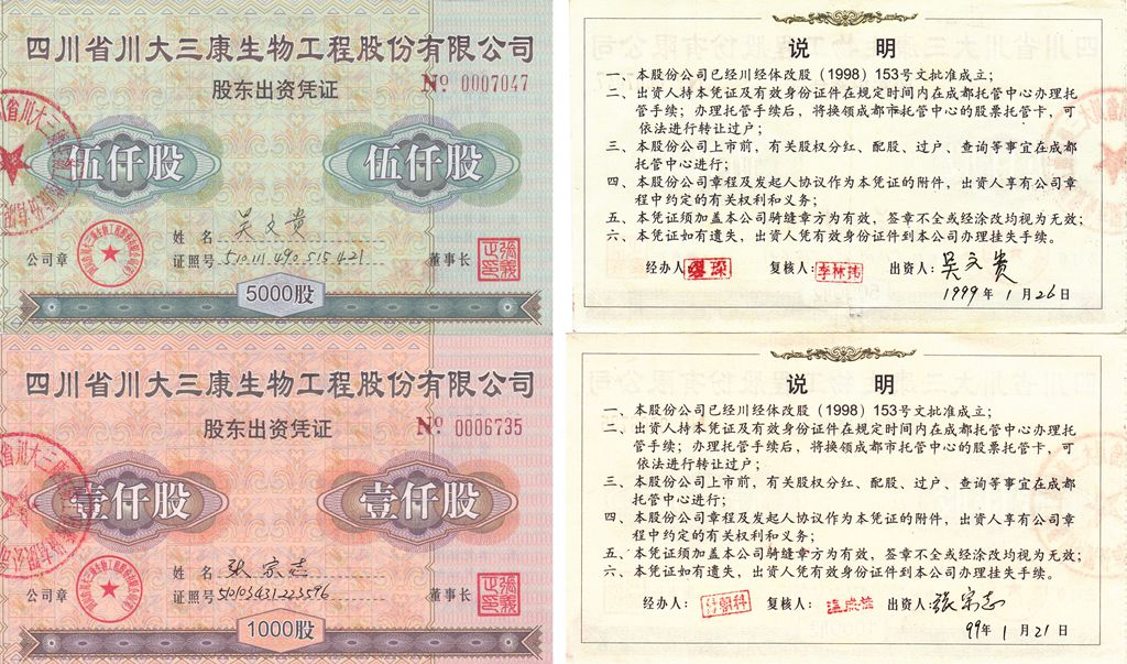 S3274, Chuan-Da Bio Co., 2 pcs Stock Certificate, China 1999 Sichuan Province