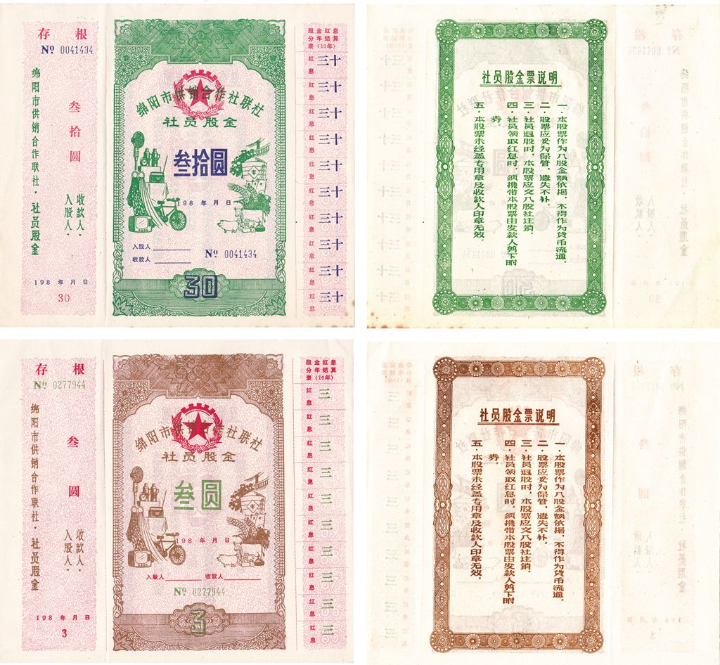 S3282, China Mianyang City Rural Co., Stock Certificate 2 Pcs, 1982