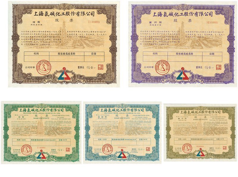 S3316 Shanghai Chlor-Alkali Chemical Co.Ltd, 5 Pcs 1992 Different, 1992