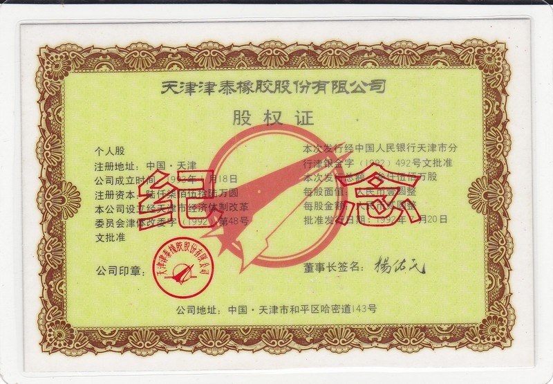 S3626 Tianjin Jintai Rubber Co., Ltd, Share of 1993