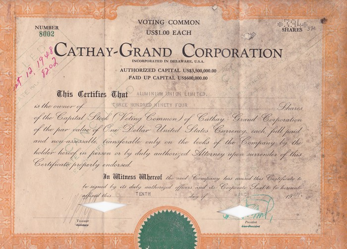 S4013, Cathay-Grand Cinema Co., Voting Common Stock 100 Shares, Shanghai 1937