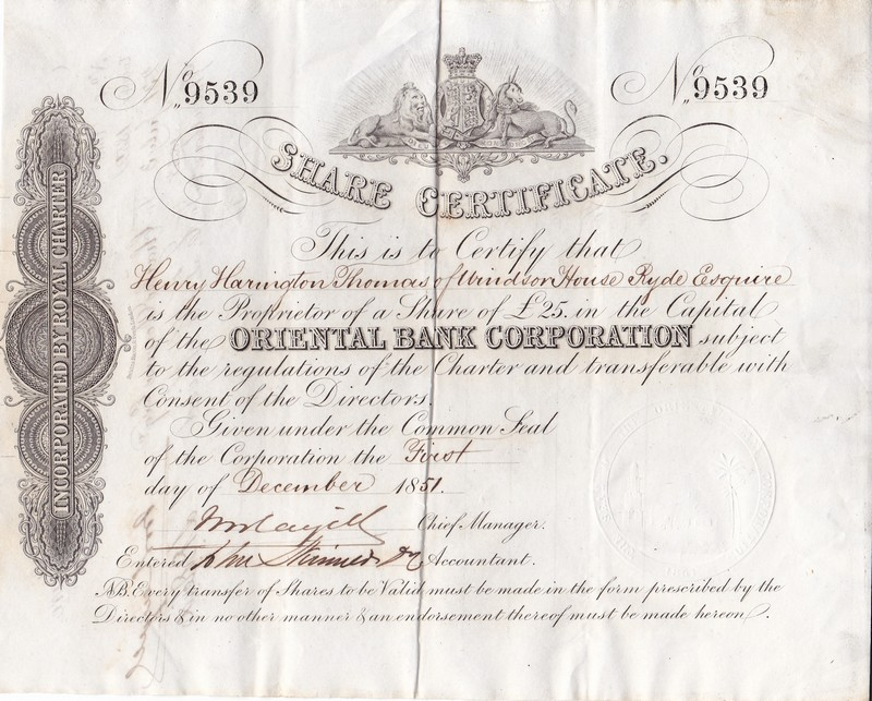 S4022, Stock Certifiate of Oriental Bank Corporation (The First Bank in China), 25 Pound Sterling 1851