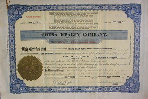S4031, China Realty Company, Stock Certificate of 1947