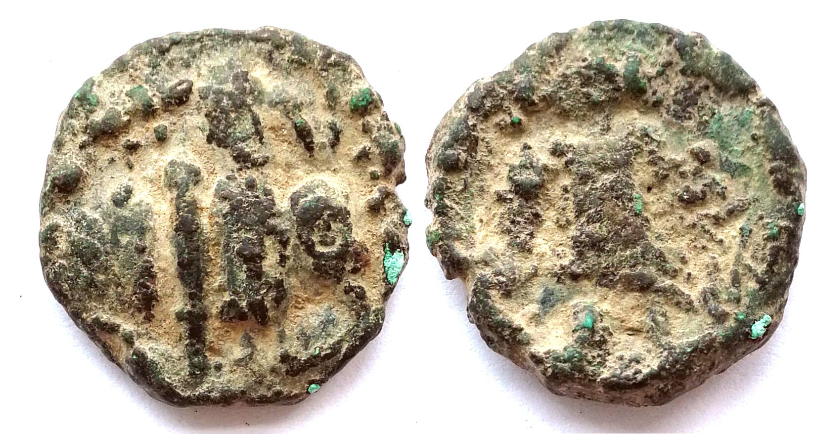 XJ3116, Ancient Kushan Coin, AD 100--400, Medium-Size 6 grams